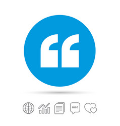 quote sign icon quotation mark symbol vector image