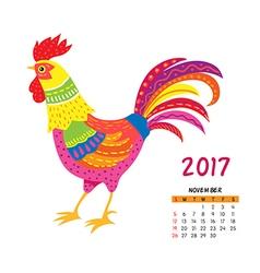Roosters calendar november vector