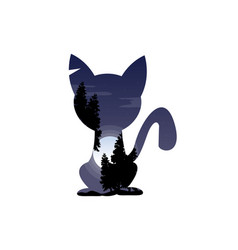 silhouette of a cat with inside the tree landscape vector image