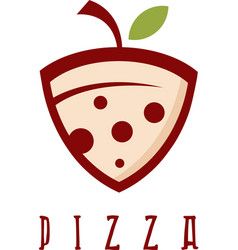 slice of pizza with leaf design template vector image