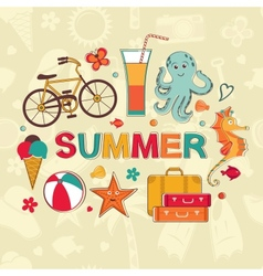 Summer cartoon set vector