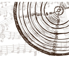 Vinyl record and music notes vector