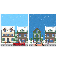 winter in city placards set vector image vector image