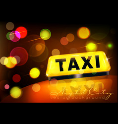 yellow taxi sign on the car against the city vector image