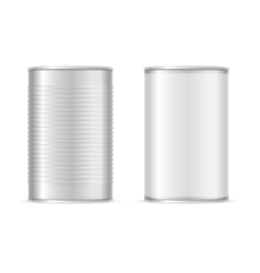 Set of metallic tin cans vector