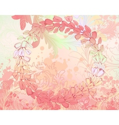 Soft pink grungy background with floral frame vector