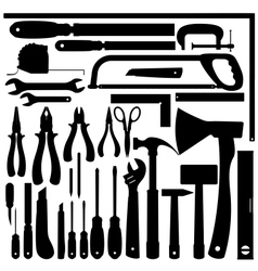 Silhouettes of work tools instruments set vector