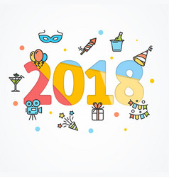 2018 party new year greeting card poster vector image