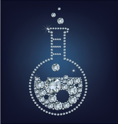 Chemistry flask icon made up a lot of diamonds vector