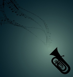 Tuba with musical symbols vector