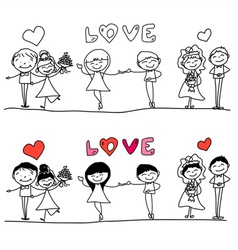 Cartoon hand-drawn love character vector