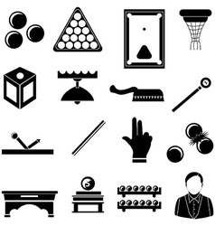 Pool snooker billiards icons set vector