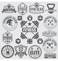 Set of various sports and fitness icons and design vector