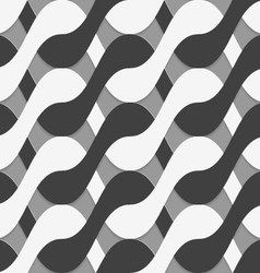 3d black and white interlocking waves vector