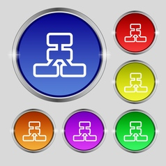 Network icon sign round symbol on bright colourful vector