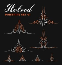 Set of two tone vintage pin striping line art vector image