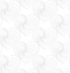 Paper white striped hearts vector