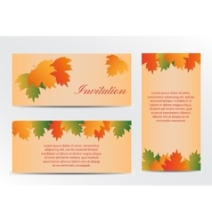 Invitation card with autumn colorful leaves vector