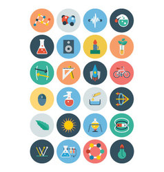 Flat science and technology icons 3 vector