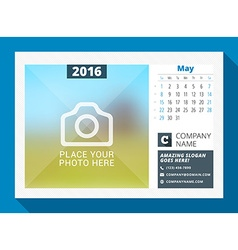 May 2016 desk calendar for 2016 year design print vector