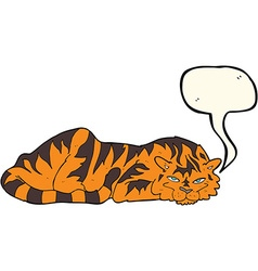 Cartoon resting tiger with speech bubble vector