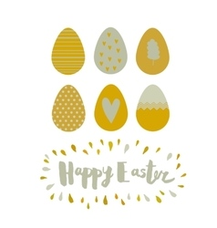 Greeting card easter eggs and lettering vector