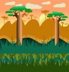 Cartoon african natural landscape vector