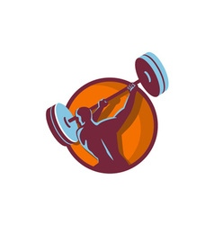 Weightlifter swinging barbell rear circle retro vector