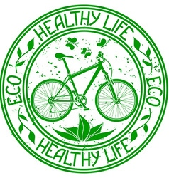 Ecological stamp with bicycle vector image