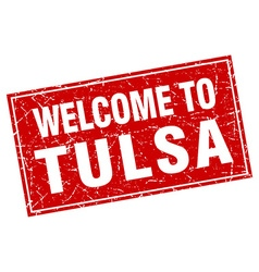 Tulsa red square grunge welcome to stamp vector