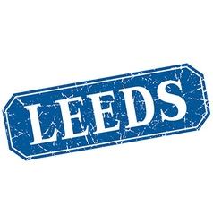 Leeds blue square grunge retro style sign vector