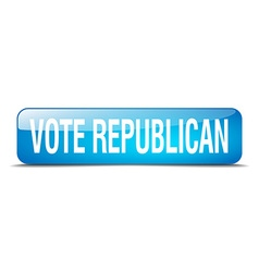 Vote republican blue square 3d realistic isolated vector