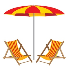Beach umbrella with chair wooden furniture and vector