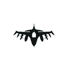 Black fighter jet icon on white background vector