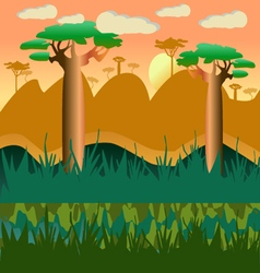 cartoon african natural landscape vector image vector image