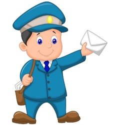 Cartoon mail carrier with bag and letter vector