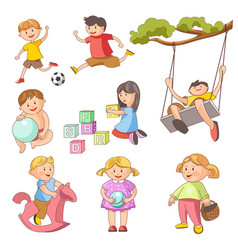 children little boys girls playing outdoor games vector image vector image