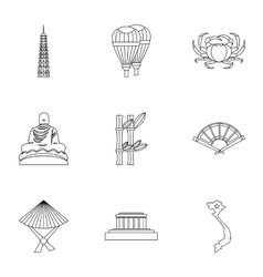 Country vietnam icons set outline style vector