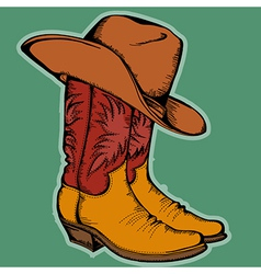 Cowboy boots and hat color isolated for desi vector