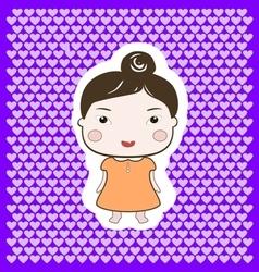 Cute happy cartoon foxy baby girl vector