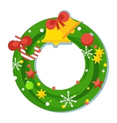 flat green christmas wreath vector image