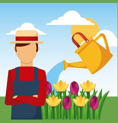 gardener watering can flowers garden work vector image