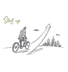 Hand drawn man going up on bicycle with lettering vector image vector image