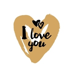 I love you on golden heart vector image vector image