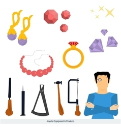 Jeweler equipment and products vector