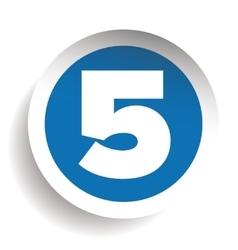 Number five sticker blue vector
