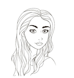Pattern for coloring book Beautiful girl vector image vector image