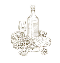 pile of hand drawn cheese with wine vector image vector image