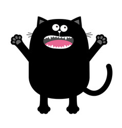 screaming meowing black cat silhouette holding vector image vector image