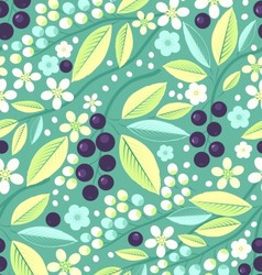 Seamless fruit pattern with blackcurrant vector